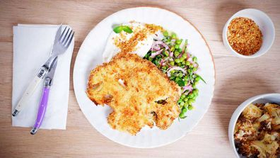 Crispy parmesan crumbed cauliflower are a vegetable poster-child dish