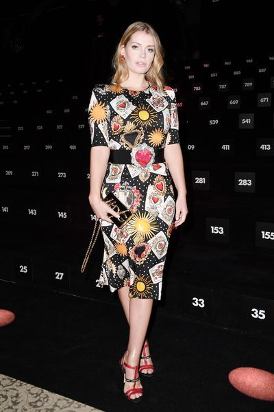 Kitty Spencer in Dolce & Gabbana at the Dolce & Gabbana show during Milan Fashion Week Fall/Winter 2018/19 in February, 2018