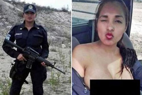 Mexican police woman posed topless in patrol car