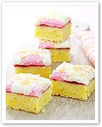 Jam and marshmallow coconut slice