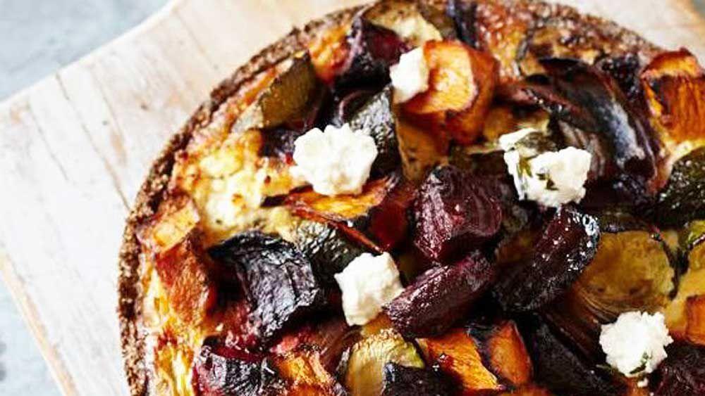 Roast vegetable tart with quinoa crust