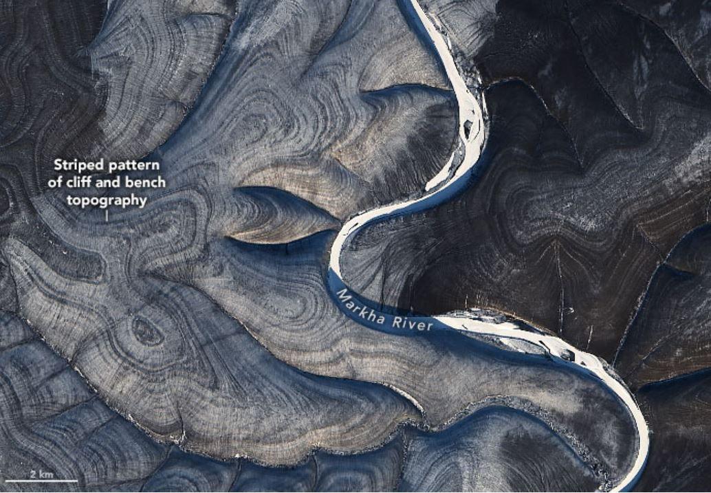 Líneas del río Markha de Rusia
