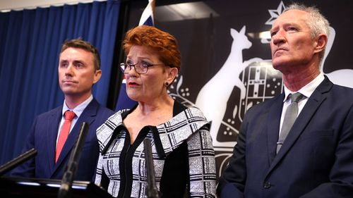 Pauline Hanson with James Ashby and Steve Dickson.