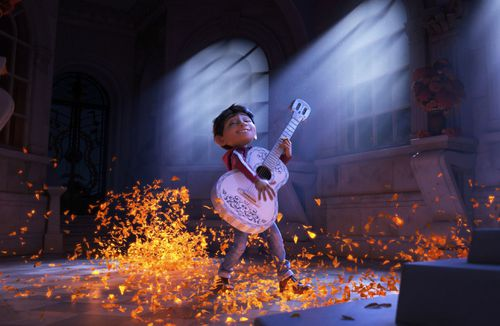 The Disney-Pixar film shows character Miguel, voiced by Anthony Gonzalez in a scene from the animated film, Coco. (AAP)