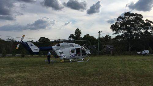 A CareFlight helicopter flew to the 25-year-old patient.
