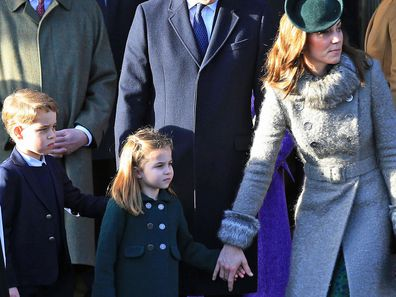 Prince William, Duke of Cambridge, Prince George, Princess Charlotte and Catherine, Duchess of Cambridge attend the Christmas Day Church service at Church of St Mary Magdalene on the Sandringham estate on December 25, 2019 in King's Lynn, United Kingdom