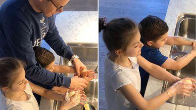 Swedish royal family demonstrate hand washing technique amid coronavirus pandemic.