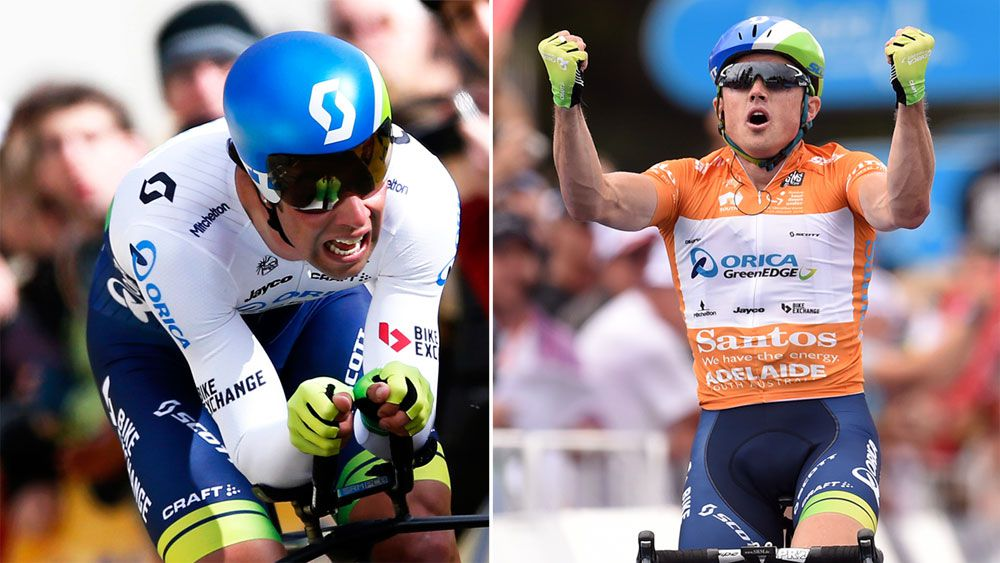 Orica-GreenEDGE teammates Michael Matthews (left) and Simon Gerrans (right) (AAP)