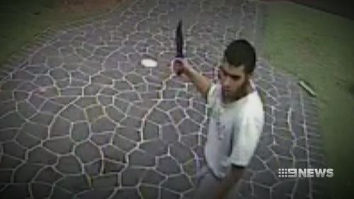 Ihsas Khan caught on CCTV wielding a hunting knife. Picture: A Current Affair