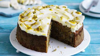 "Recipe: <a href=""https://kitchen.nine.com.au/2017/10/20/14/21/banana-carrot-and-walnut-cake"" target=""_top"" draggable=""false"">Banana, carrot and walnut cake</a>&nbsp;"