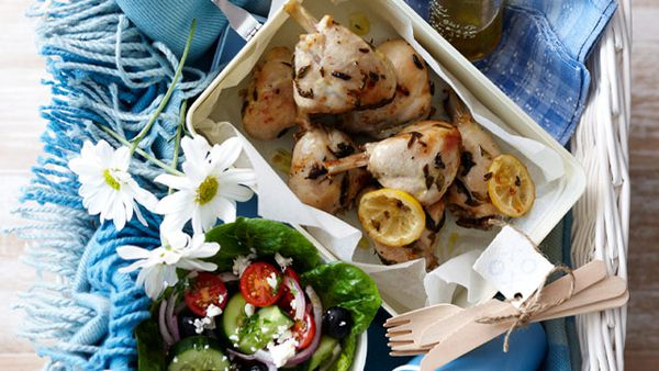 Lemon lovely legs with Greek salad
