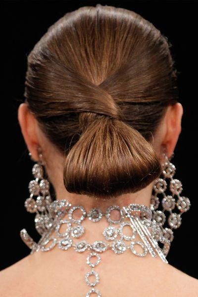 A bun is never just a bun. Naeem Khan's version involved intricate twists.