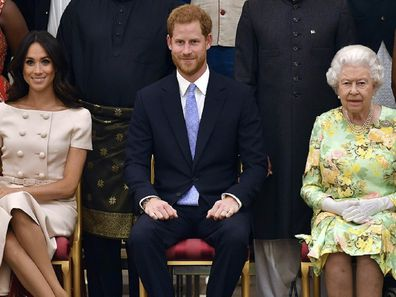 Harry and Meghan with the Queen in January 2020.