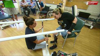 Ms Kilminster's first steps on her new leg came not long after the operation.