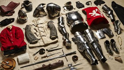 Atkinson spent hours working with historical re-enactment groups to piece together the various items, including this set of plate modelling a man-at-arms from the battle of Bosworth Field in 1485.