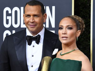 Jennifer Lopez and Alex Rodriguez arrives at the 77th Annual Golden Globe Awards attends the 77th Annual Golden Globe Awards at The Beverly Hilton Hotel on January 05, 2020 in Beverly Hills, California.