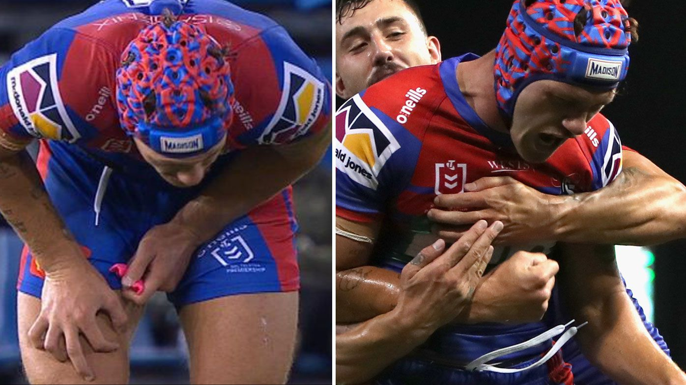 Kalyn Ponga battles through a stomach bug to inspire Newcastle over the Sharks. (Twitter)
