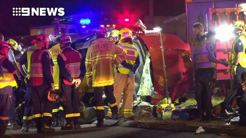 Emergency services were called to Campbelltown Road at Woodbine following reports eight cars had collided and one had caught fire. Picture: 9NEWS.