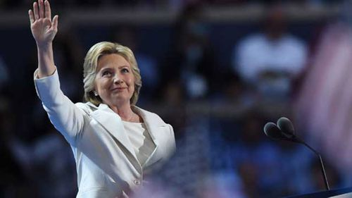 Hillary Clinton during her convention address. (AP)