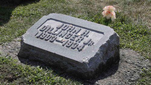 John Dillinger's purported grave in Indiana.