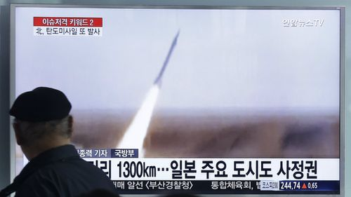 A missile test in March was broadcast on South Korean television. (AAP)