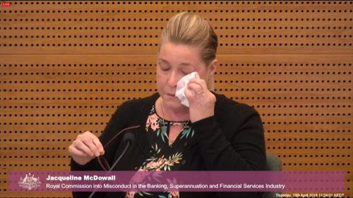 Jacqueline McDowall broke down at the commission yesterday where she revealed bad advice from Westpac bank had left her homeless.