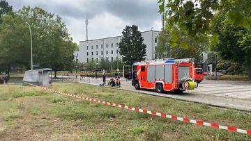 Emergency service outside school in lockdown in Berlin