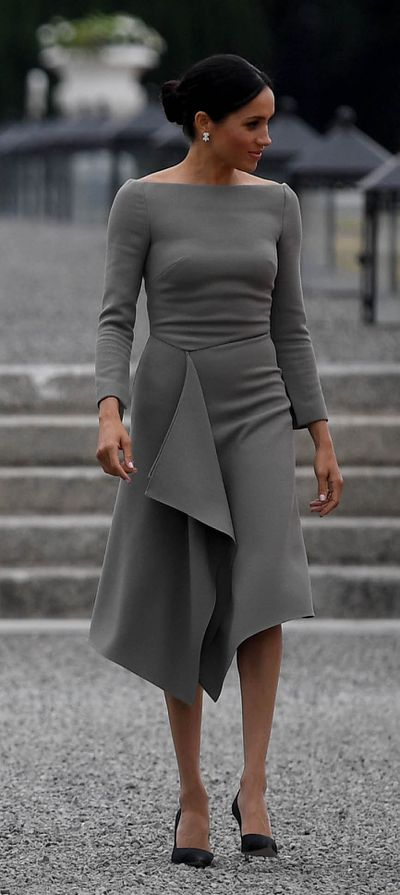 <p>Meghan Markle in&nbsp;Roland Mouret in Ireland, July 2018</p>