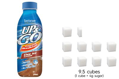 Up&Go Choc Ice: 38.3g sugar per 500ml bottle