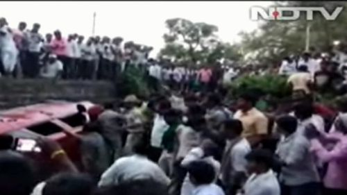 Video of the mob violence was broadcast on Indian television. Picture: NDTV