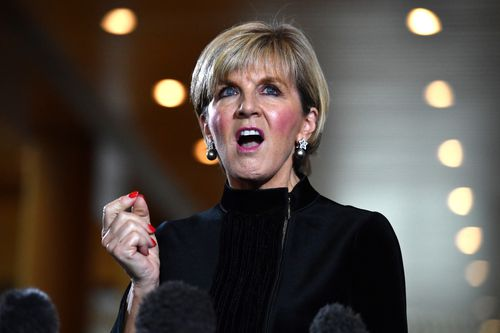 Foreign Minister Julie Bishop in Canberra today. (AAP)