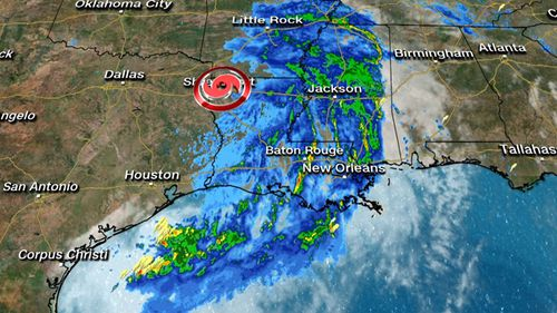 Weather map showing path of Hurricane Barry moving inland across the southern US.