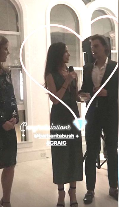 Barbara and husband Craig are seen addressing guests at their wedding after-party event, held in Tribeca, New York City, October 12.