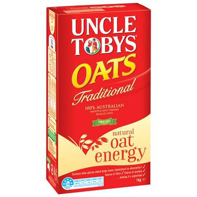 <strong>Uncle Toby's Traditional Oats (9.2 grams of fibre per 100 grams)</strong>