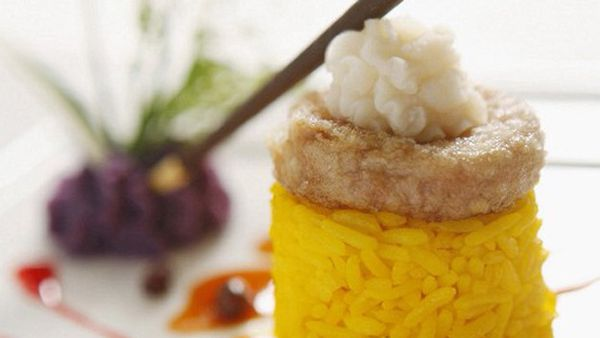 Prawns cakes with curry rice