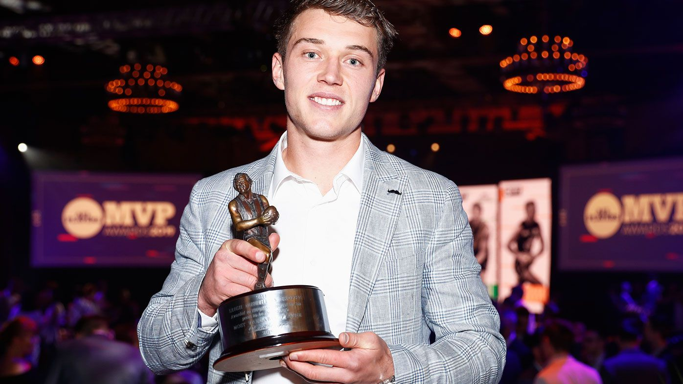 Patrick Cripps of the Blues poses for a photo after winning the Leigh Matthews Trophy, the award presented to the Most Valuable Player of the season