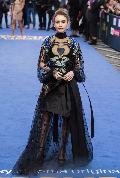 e1d9aee2897 Lily Collins turns heads in a sheer Elie Saab gown