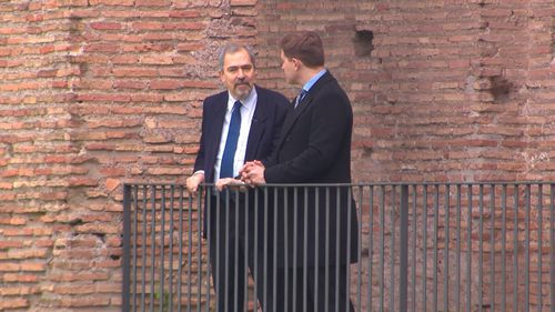 Claudio Parisi Presicce, Rome's Archaeology Superintendent, has been lobbying the council for money for the restoration of the walls. Picture: 9NEWS