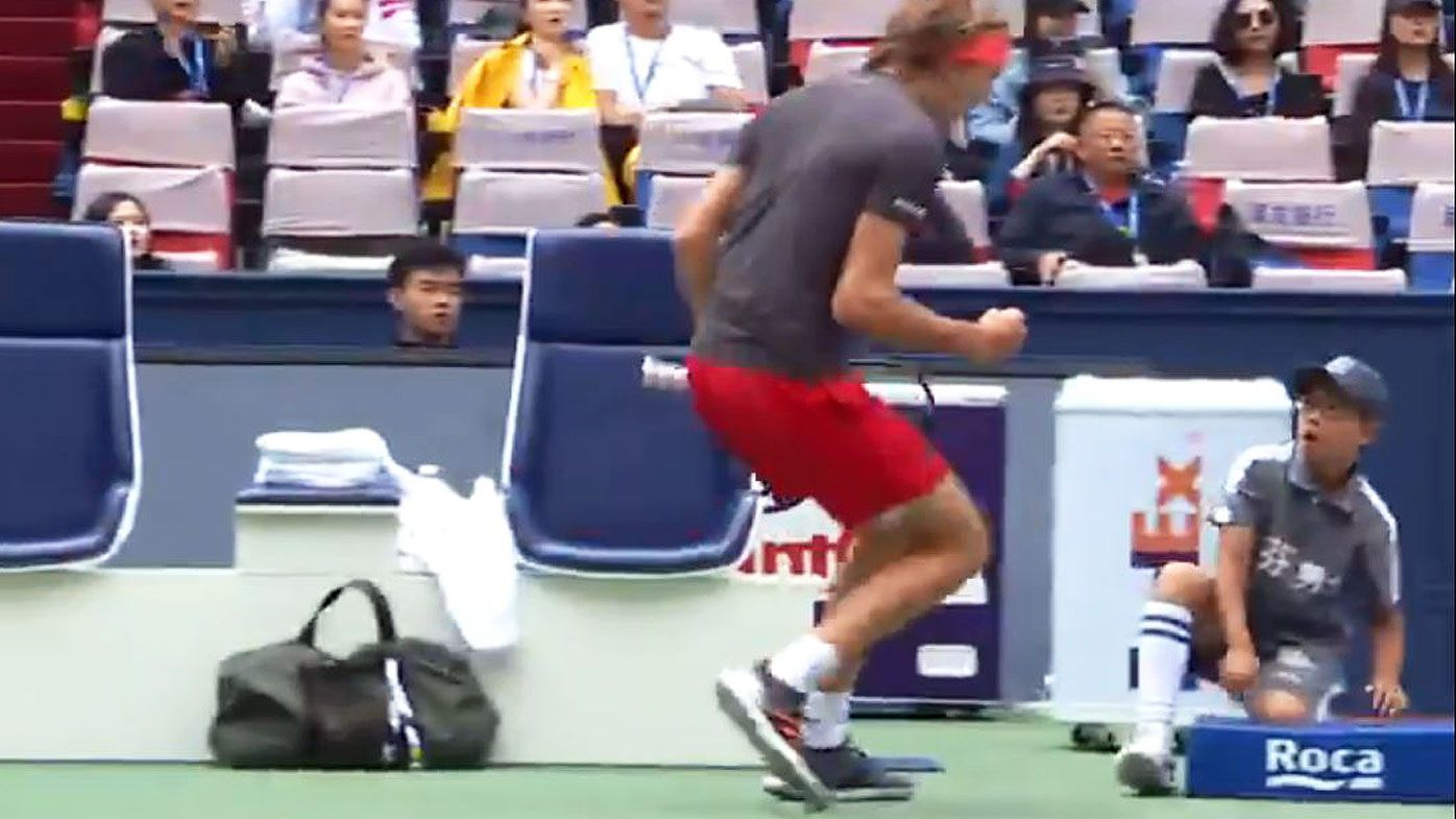 Tennis: Alexander Zverev accidentally terrifies ball boy with fierce fist pump