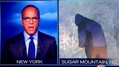 The internet is abuzz with speculation that a US meteorologist was caught taking a leak during a live cross from a North Carolina snow storm. When NBC's cameras cut to Mike Seidel he had his back to the camera and many people who commented on the video online suggested the unresponsive reporter was answering the call of nature. When Seidel turns back to face the camera he is not wearing his gloves despite the obviously cold weather. An NBC spokesman said the reporter had dropped his phone in the snow and was hunched over as he searched for it but the comments have so far failed to hose down the speculation.