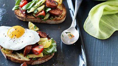 "Recipe:<a href=""http://kitchen.nine.com.au/2017/05/19/10/01/hayden-quinn-tomato-breakfast-salad-with-chorizo-herbs-eggs-and-bread"" target=""_top"">Hayden Quinn's tomato breakfast salad with chorizo, herbs, eggs and toast</a>"