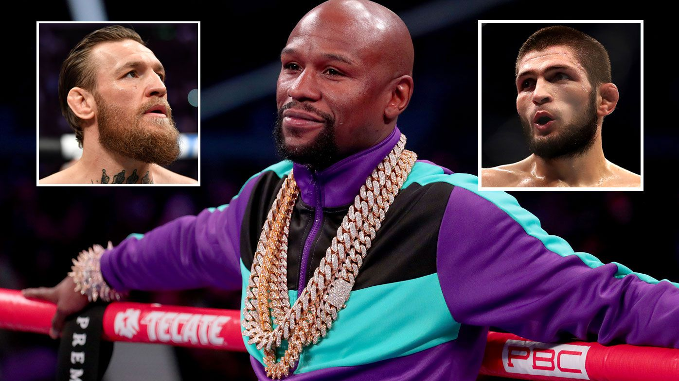 Floyd Mayweather has teased an astronomical sum to get him back in the ring for a possible fight against Conor McGregor and Khabib Nurmagomedov. (Getty)