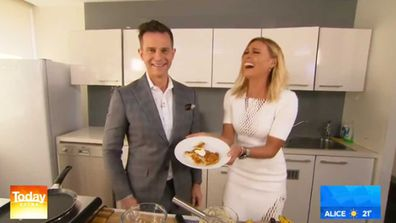 David Campbell and Sonia Kruger cook on Today Extra