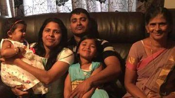 Subi Babu, Shibu Kochummen and his mother Alekutty Daniel, with their children. (NZ Herald/Supplied)
