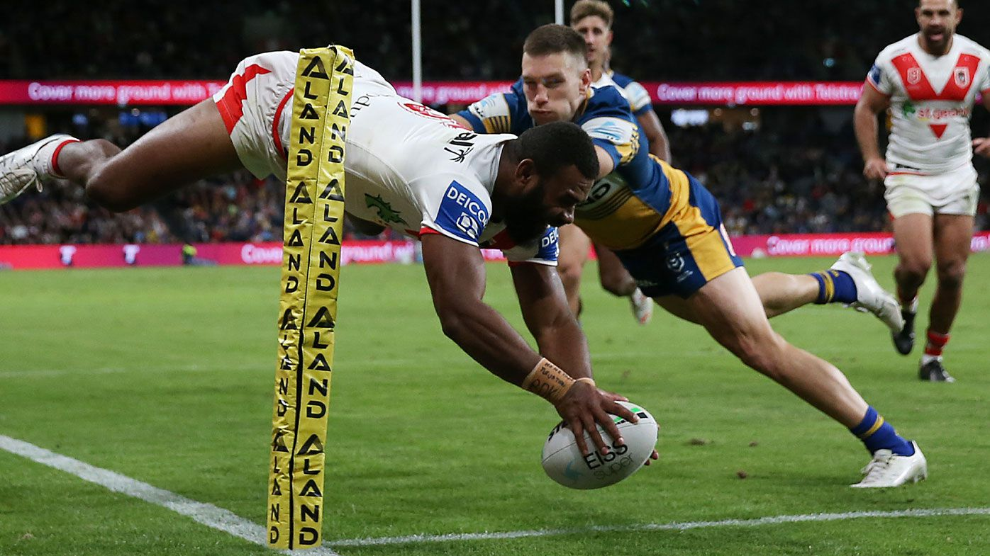 Mikaele Ravalawa soars high for a stunning try. (Getty)