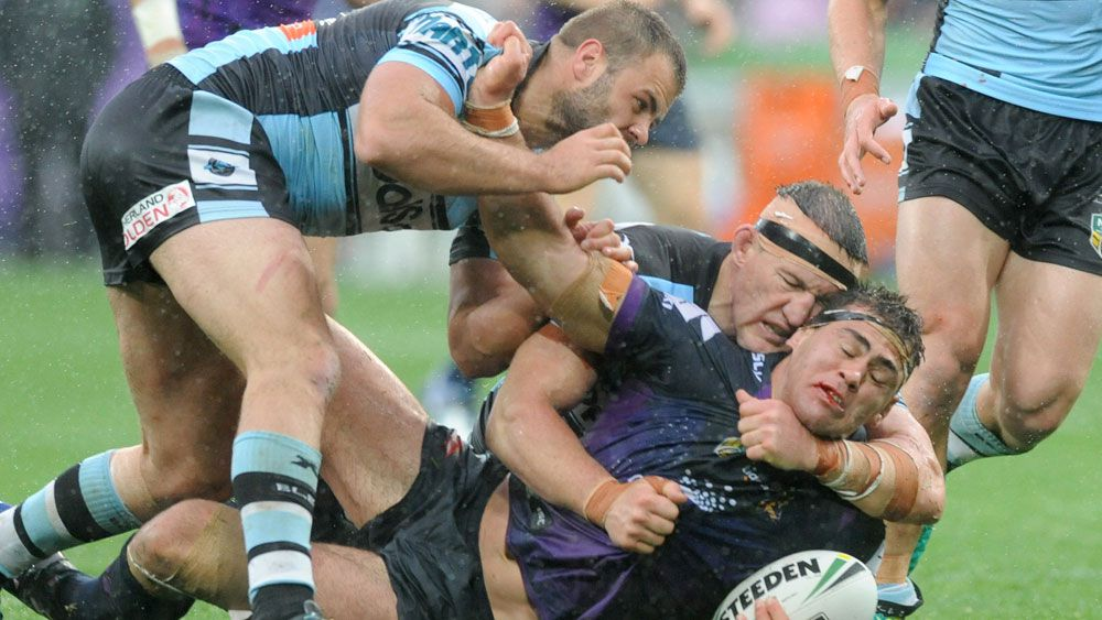 Cronulla Sharks grind out NRL win over Melbourne Storm in the rain