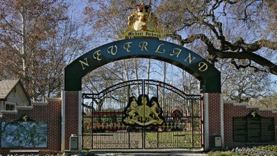 Though the home is being sold as the 'Sycamore Valley Ranch' the sellers have kept the 'Neverland' signs scattered across the property. (AAP)