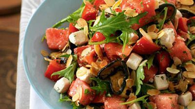"Click through for our <a href=""http://kitchen.nine.com.au/2016/05/19/12/35/tomato-watermelon-salad-with-feta"" target=""_top"">tomato & watermelon salad with feta</a> recipe"