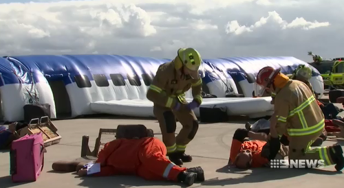 The exercise was for Ambulance, Fire and Police officers to cope in the event of an actual plane crash.