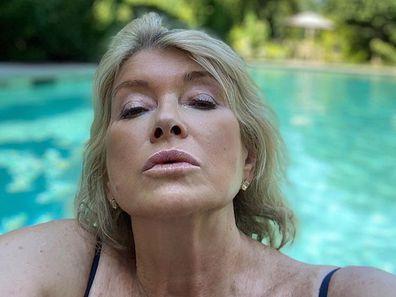 Martha Stewart pool selfie